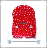 Inlay-voor-Ikea-kinderstoel-Polkadot-rood-Boerenruit-rood