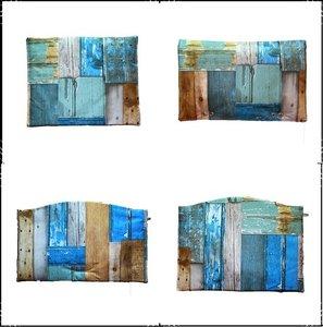 kussenset voor Stokke Tripp Trapp kinderstoel 4-delig Steigerhout blauw / steigerhout