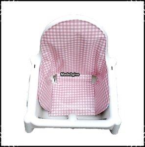 Inlay voor Ikea kinderstoel Boerenruit babyroze / Rosaria roze
