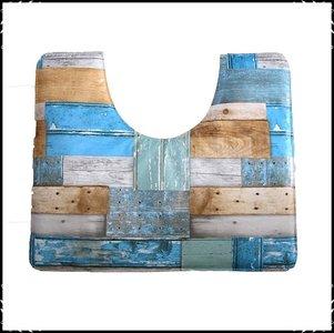 Wc mat Steigerhout blauw / steigerhout
