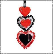 Decoratiehanger-harten-zwart--rood