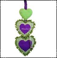 Decoratiehanger-harten-boerenruit-groen--paars