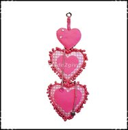 Decoratiehanger-harten-Boerenruit-roze--roze