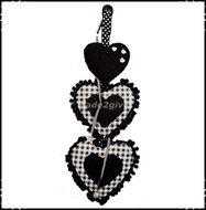 Decoratiehanger-harten-boerenruit-zwart--zwart