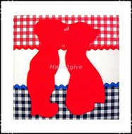 Wanddecoratie-rood-wit-blauw-rood-kussend-paartje-groot