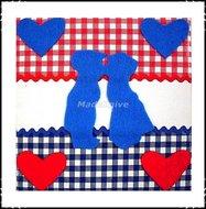 Wanddecoratie-rood-wit-blauw-blauw-kussend-paartje-klein