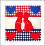 Wanddecoratie-rood-wit-blauw-rood-kussend-paartje-klein
