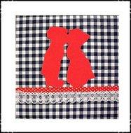 Wanddecoratie-boerenruit-blauw-rood-kussend-paartje