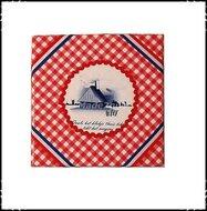 Wanddecoratie-rood-wit-blauw-in-rood-met-spreekwoord:zoals-het-klokje-thuis-tikt...