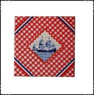 Wanddecoratie-rood-wit-blauw-boerenruit-rood-met-boot