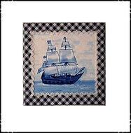 Wanddecoratie-boerenruit-blauw-met-zeilboot