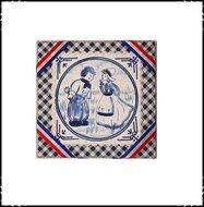 Wanddecoratie-rood-wit-blauw-met-boer-en-boerin