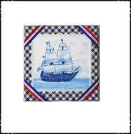 Wanddecoratie-rood-wit-blauw-met-zeilboot