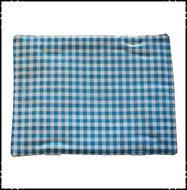 Kussen-voor-babyset-Stokke-Boerenruit-lichtblauw-Fortin-donkerroze